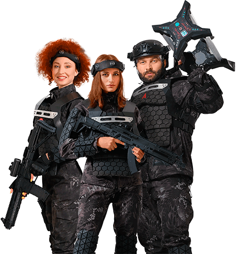 Tree persons with lasertag guns and devieces